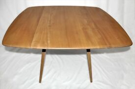 Vintage Retro 60's Ercol Windsor Square Drop Leaf / Extending Plank Table - As New - Fully Renovated