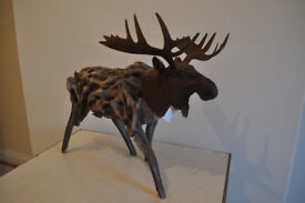Wood and metal decorative moose