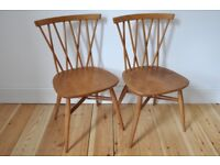 Set of 2 vintage retro 60's Ercol ercol windsor candlestick chairs (model 376)