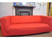 Two-seater Ikea Sofa w/ Red Cover