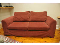 John Lewis Relyon 3 Seater Loose Cover Sofa Bed, Burgundy