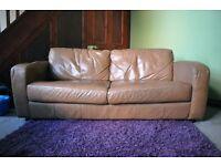 Leather sofa, 3-seater, tan
