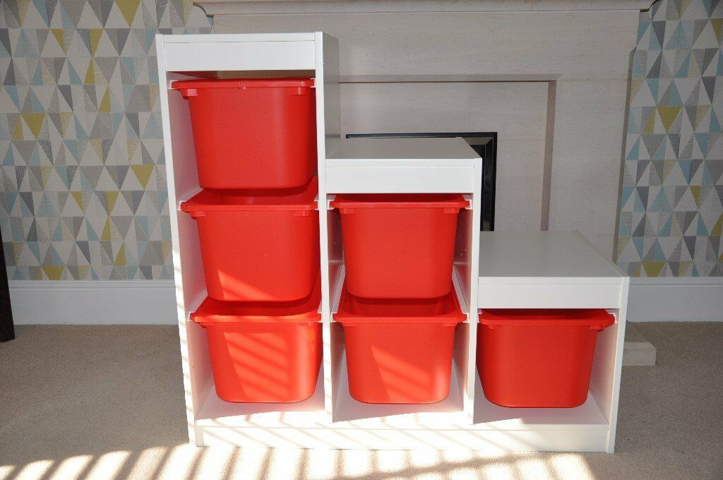 Ikea trofast 6 box storage unit with red boxes in for Ikea box shelf unit