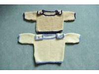 handmade baby knitted jumpers boys girls unisex 0-3 months