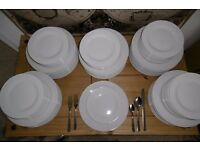 Job lot 50 white dinner plates / side plates / cutlery