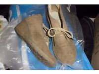 PAIR BEIGE WEDGE LACE UP BOOTS SIZE 6 WIDE FITTING