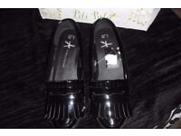 SIZE 4 BRAND NEW PAIR OF BLACK PATENT FLAT SLIP ON SHOES