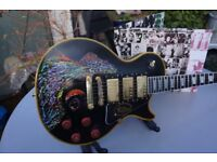 Les Paul custom black Keef's Exile vibe hand painted top Epiphone pups Coolest guitar on the planet