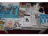 NINTENDO WII CONSOLE, 7 GAMES, TENNIS BATS, 2 X STEERING WHEELS,CONTROLS,CHARGING UNIT