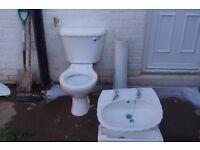 White basin with toilet