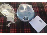 All 3 for £7. Stir flow 2 speed fan, Foot Spa & Bathroom weighing scales