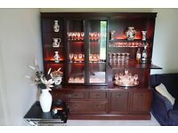 Mahogany Wall Unit with Drinks Cabinet £40 also Cut Glass, 3-2-1 Seater Suite