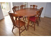 Wooden dining table and 6 chairs for sale £45