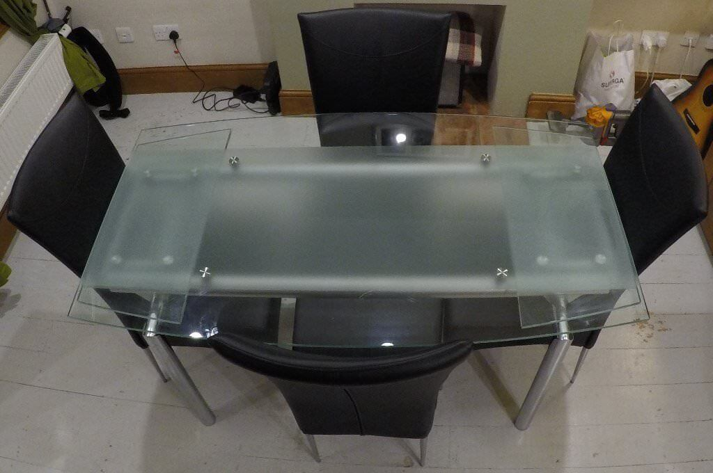 Glass Dining Table (Extendedable ) with 4 Leather Chairs