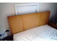 Oak slatted bed 5' frame and mattress little used from spare room