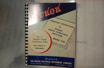 Operation Test Data Manual For Hickok 534 Tube Tester