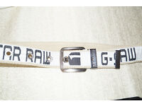 G STAR, G-STAR RAW CANVAS WHITE/ IVORY BELT, SIZE LARGE