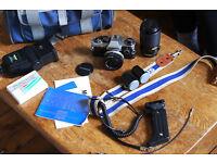 olympus om10 35mm slr analog film camera kit zoom/macro lens flash