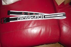 "BRAND NEW MEN'S/BOYS ""CROSSHATCH"" BLACK/WHITE CANVAS BELT 34"" WAIST"