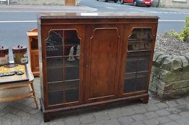 vintage walnut burr china cabinet display unit sideboard shabby chic