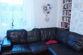 NEXT black leather L shape sofa/armchair/storage footstool/suite