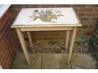 Vintage Side Table Gold Trim with Floral Painted Top - For Upcycling
