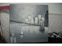 "SQUARE GREY PRINT CANVAS PICTURE SIZE 24"" X 24"" LOVELY PICTURE"