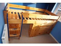 Thuka shorty midsleeper bed with shelves, desk and drawer unit.