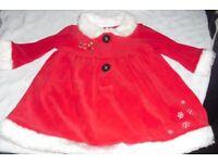 AGE 6-9 MONTHS LITTLE RED SANTA DRESS WITH WHITE FUR TRIM ROUND BOTTOM + CUFFS