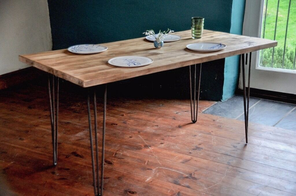 Reclaimed Wood Dining Table Industrial Rustic Vintage Scaffold