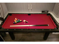 6 ft Black Pool Table + Dining Table - Hardly used + excellent condition. Cost us £500.