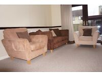 DFS 3 Piece suite, Faux suede 3 colours.