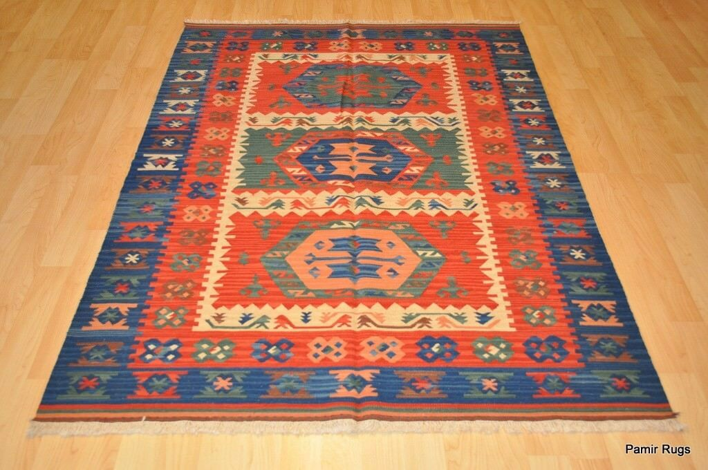 Southwestern Wool Kilim Area Rug 5 X 7 Handmade Red And Blue Caucasian Style Ebay