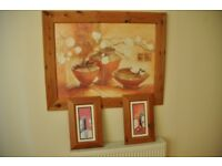 Pine Framed Pictures x3