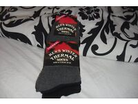 NEW PACK OF 3 MEN'S THERMAL WINTER SOCKS IN BLACK, GREY + NAVY