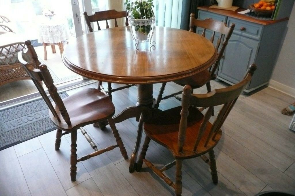 Round Solid Wood Kitchen Dining Table And Four Chairs In Shaw