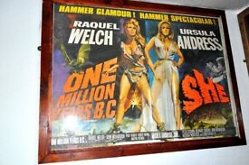 ORIGINAL MOVIE POSTER OF SHE/1 MILLION YEARS BC SHOWS LIGHT SIGNS OF USE