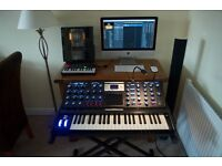 Moog Voyager Electric Blue Analogue Synthesiser Immaculate Condition For Sale.