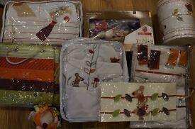 Mamas and Papas Unisex 'Hodge Podge' curtains, tie backs, cot bumper, sleeping bag, mobile