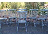 SOLID PINE KITCHEN DINING CHAIRS PAINTED IN FARROW & BALL GREY