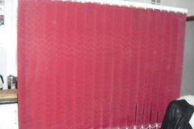 "VERTICAL BLIND IN DEEP RED WIDTH 61"" DROP 43"""