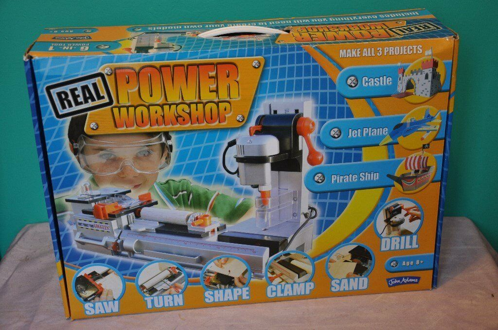 """Real Power Workshop"" 6-in-1 junior woodworking station (hardly used) - ideal Xmas present"