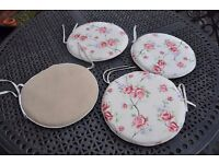 Set of 4 Reversible Chair Seat cushions