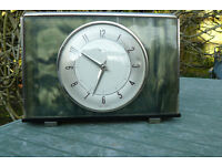 Retro metamec wind up clock in a pretty green mother of pearl effect surround