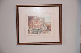 Framed painting of 'Milk Street' Shrewsbury