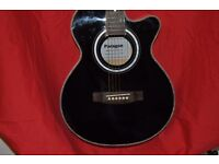 BRAND NEW PARAGON ELCTRO ACOUSTIC GUITAR, BLACK WITH MOTHER OF PEARL DETAILING