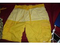 SIZE LARGE PAIR MEN'S KNEE LENGTH SWIM SHORTS IN YELLOW/WHITE STRIPE