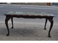 mahogany glass top coffee table