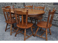 rubberwood pine oval shaped dining table and 6 chairs