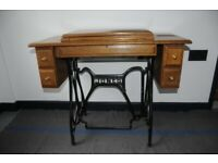 Antique Jones Sewing Machine Table With Four Drawers and Cast Iron Base. Unusual